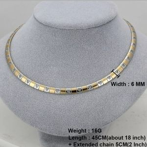 2 Tone Hearts omega necklace 6mm stainless steel